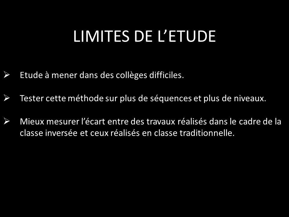 LIMITES DE L'ETUDE Etude à mener dans des collèges difficiles.