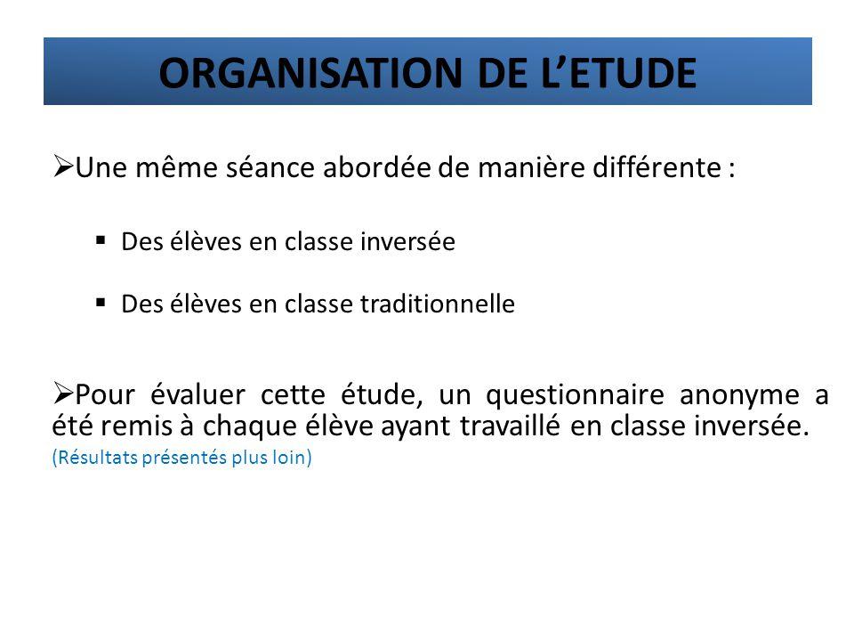 ORGANISATION DE L'ETUDE