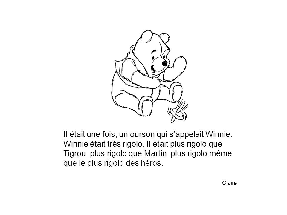 Il était une fois, un ourson qui s'appelait Winnie.