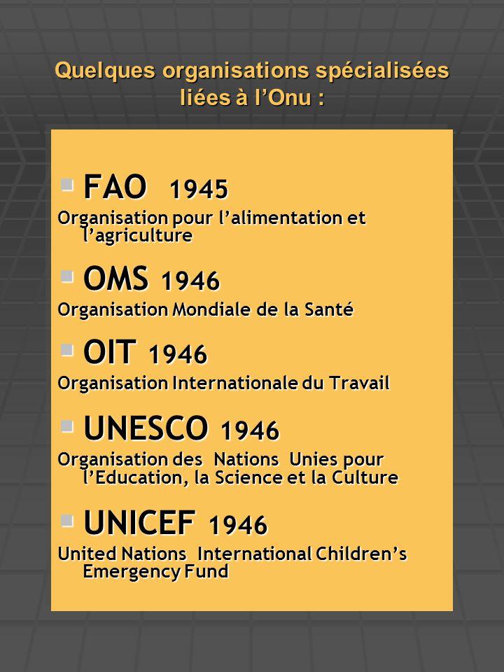 Quelques organisations spécialisées liées à l'Onu :