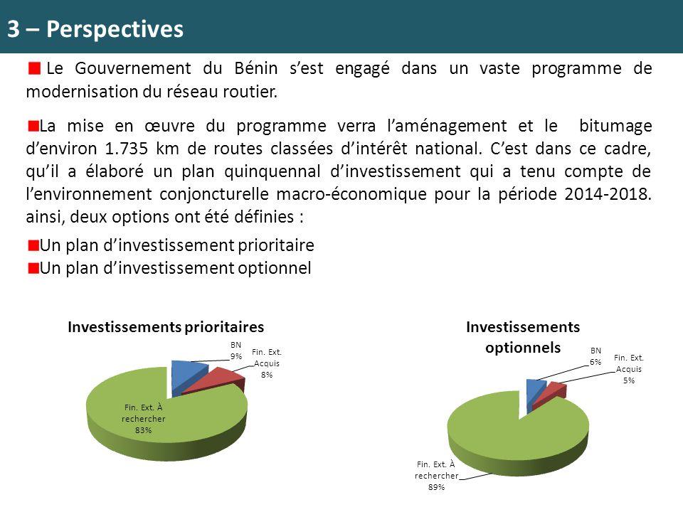 3 – Perspectives Le Gouvernement du Bénin s'est engagé dans un vaste programme de modernisation du réseau routier.