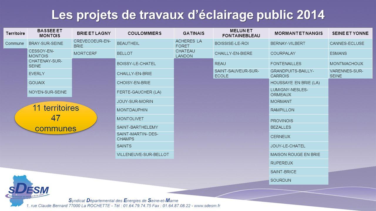 Les projets de travaux d'éclairage public 2014 MELUN ET FONTAINEBLEAU