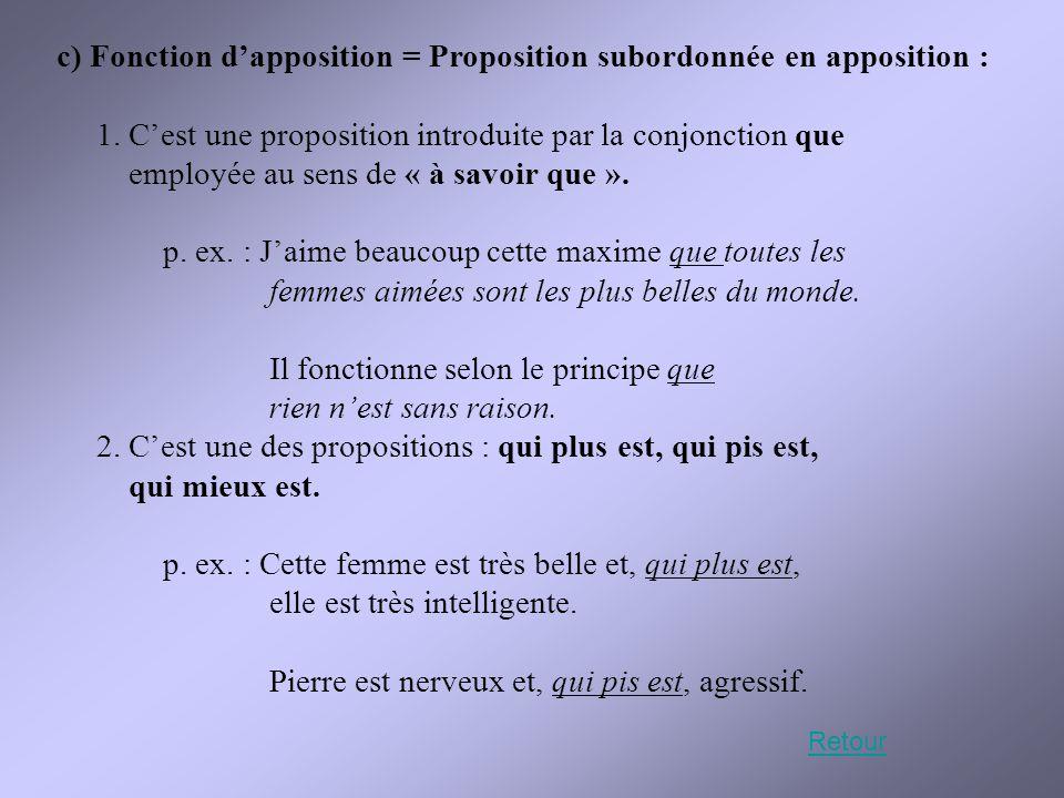c) Fonction d'apposition = Proposition subordonnée en apposition :