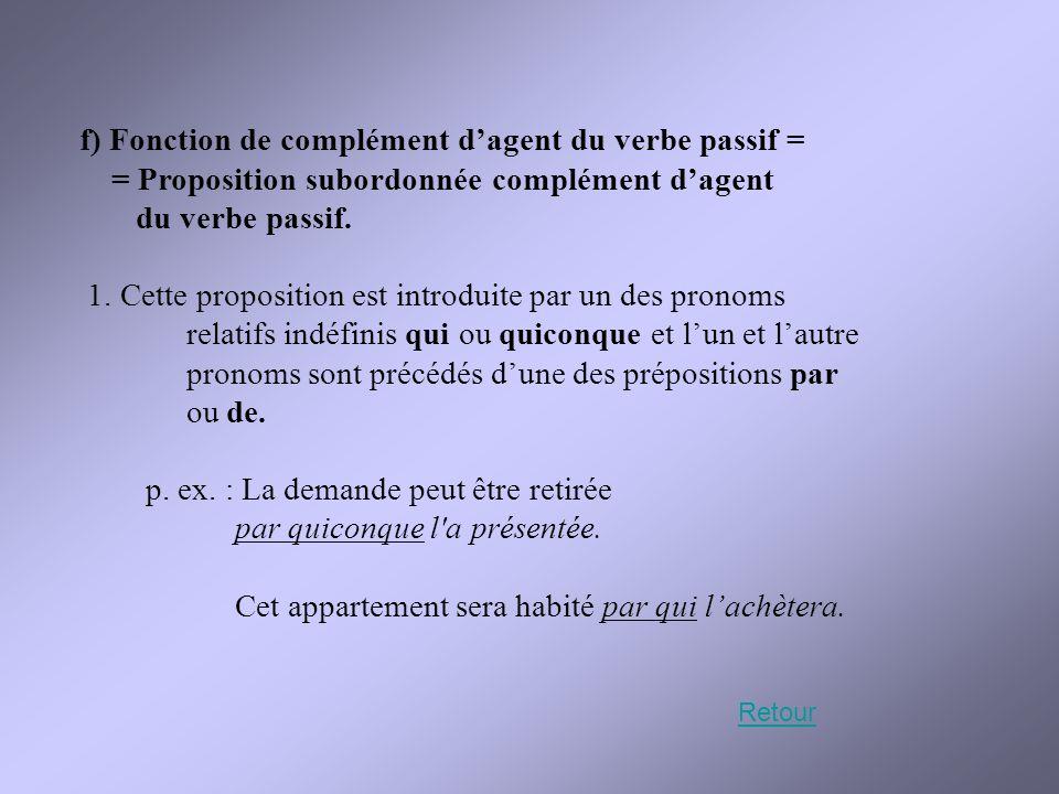 f) Fonction de complément d'agent du verbe passif =