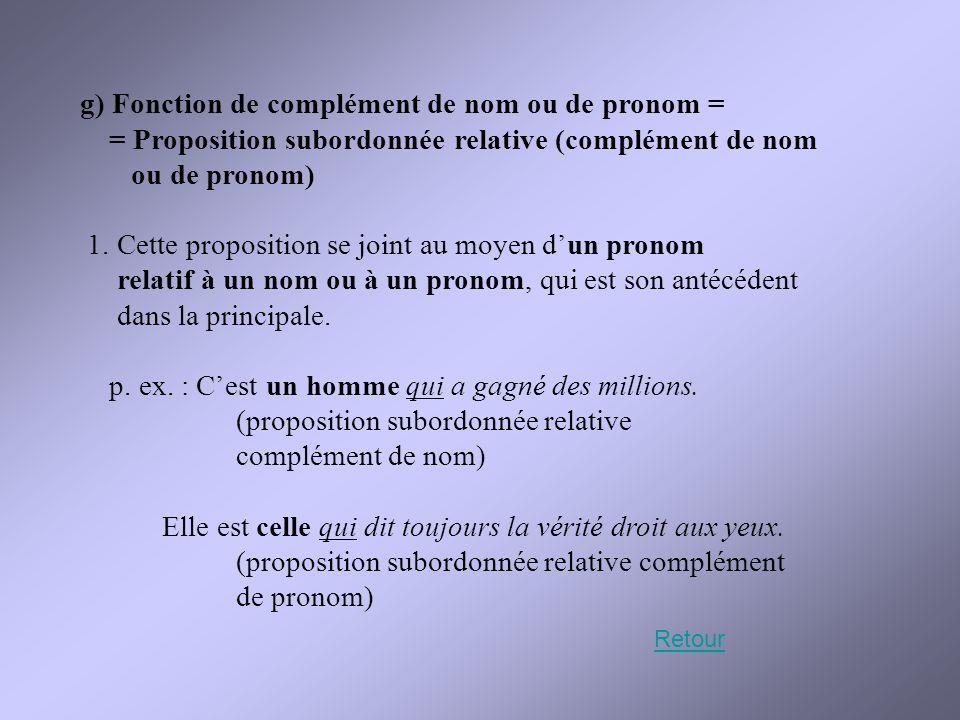 g) Fonction de complément de nom ou de pronom =