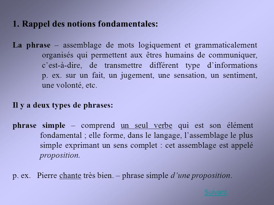 1. Rappel des notions fondamentales: