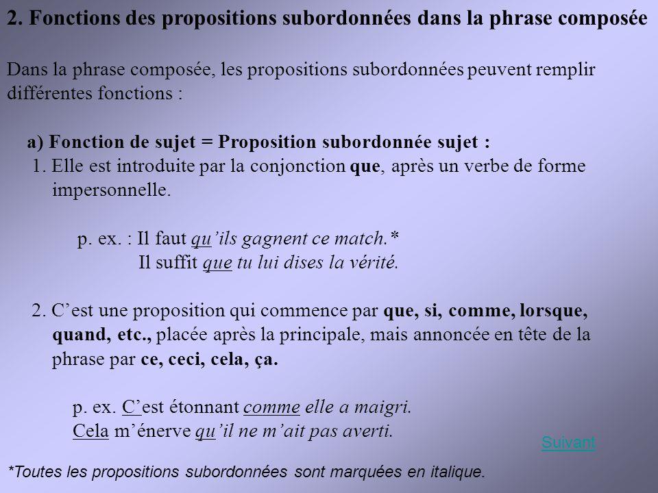 2. Fonctions des propositions subordonnées dans la phrase composée