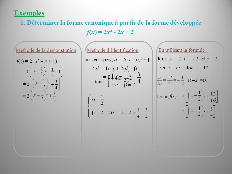 Exemples 1. Déterminer la forme canonique à partir de la forme développée. f(x) = 2x² - 2x + 2. Méthode d'identification.