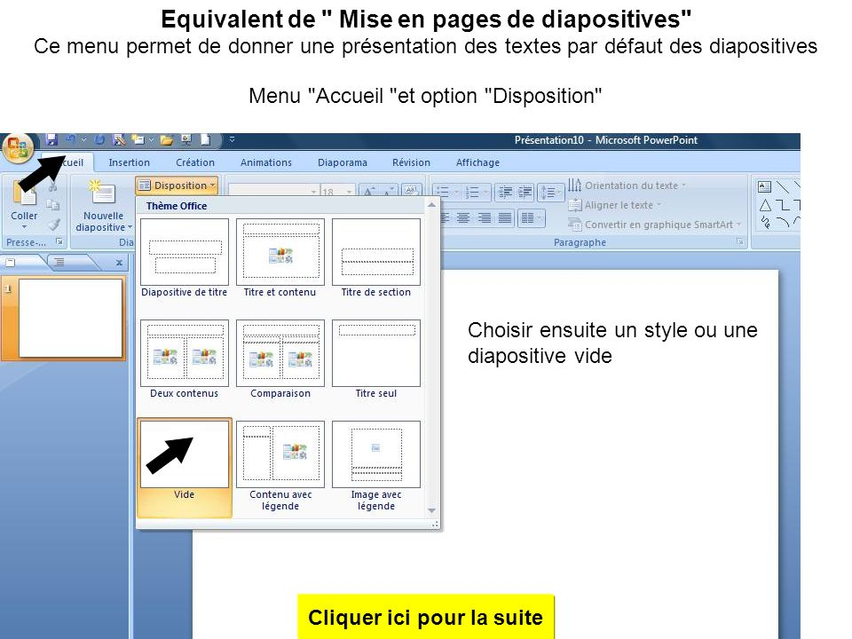 Equivalent de Mise en pages de diapositives
