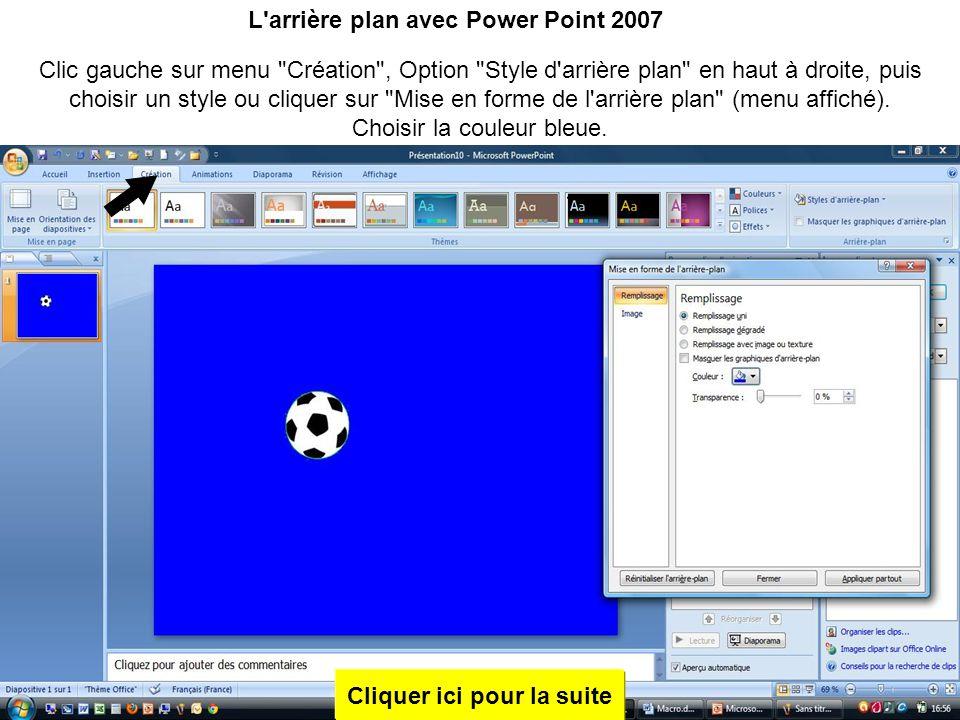 L arrière plan avec Power Point 2007 Cliquer ici pour la suite