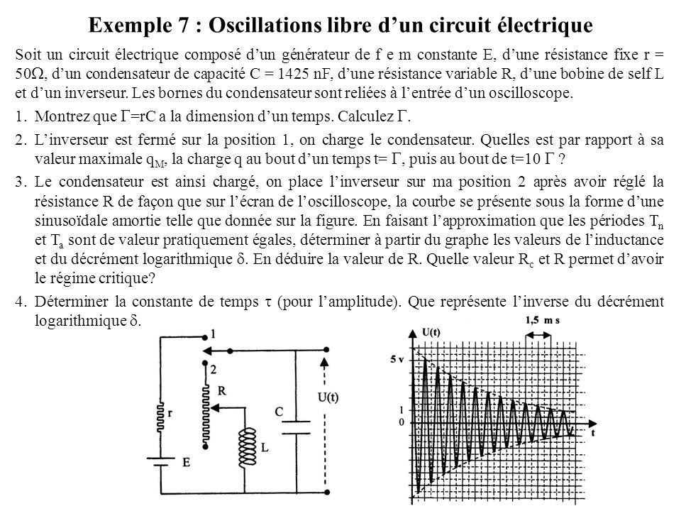 Exemple 7 : Oscillations libre d'un circuit électrique