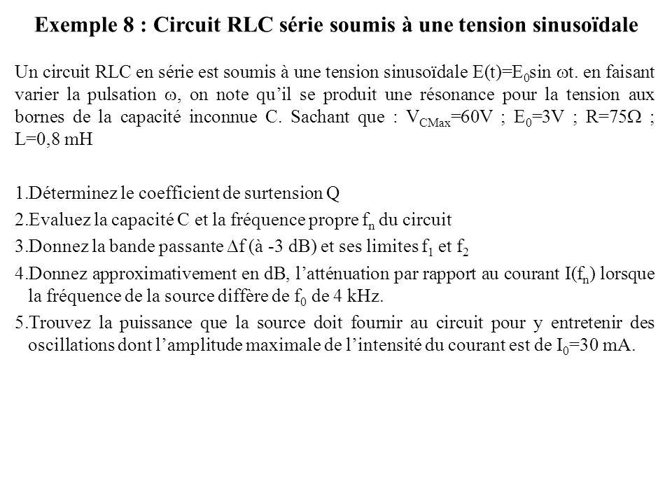 Exemple 8 : Circuit RLC série soumis à une tension sinusoïdale