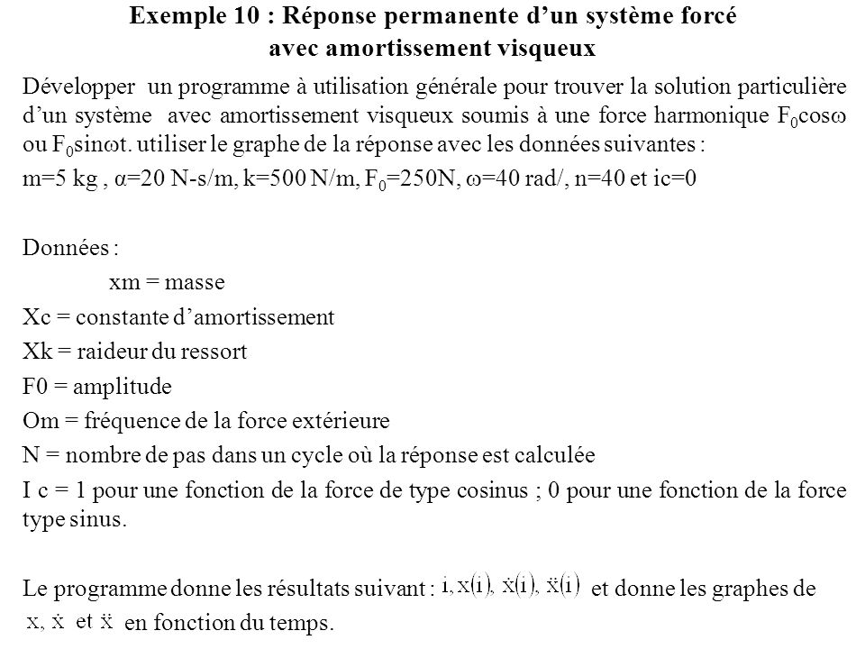 Exemple 10 : Réponse permanente d'un système forcé avec amortissement visqueux