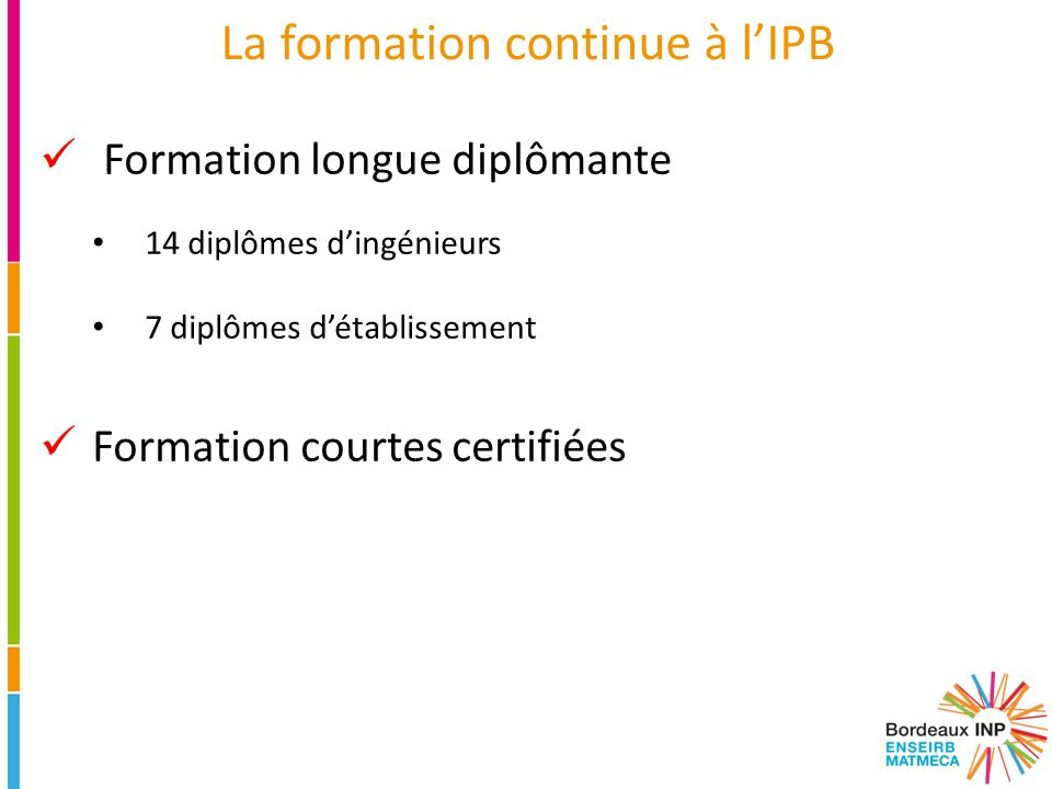 La formation continue à l'IPB