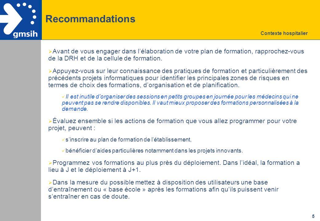 Recommandations Contexte hospitalier.