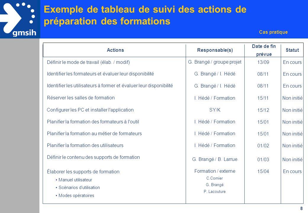 Exemple de tableau de suivi des actions de préparation des formations