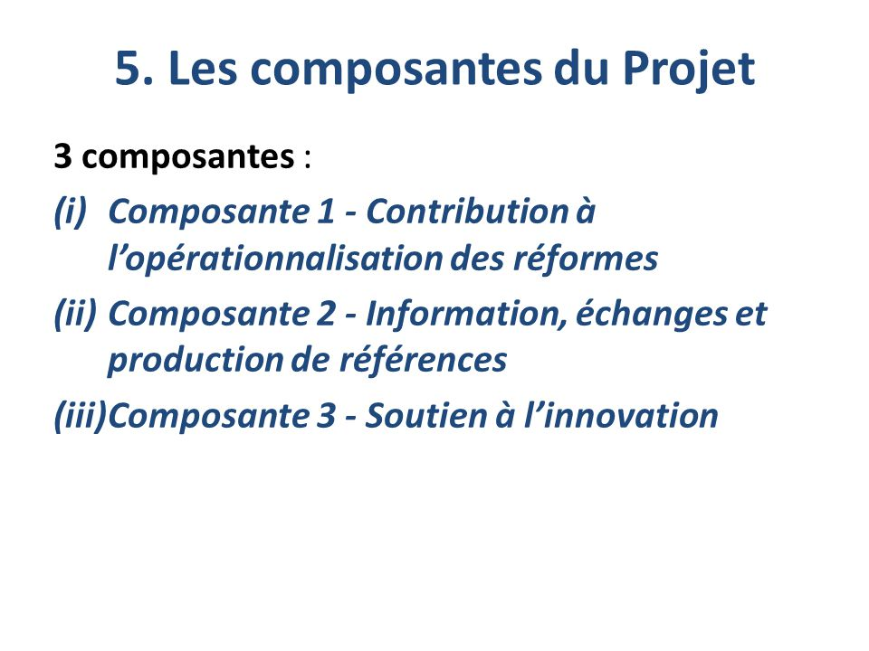 5. Les composantes du Projet