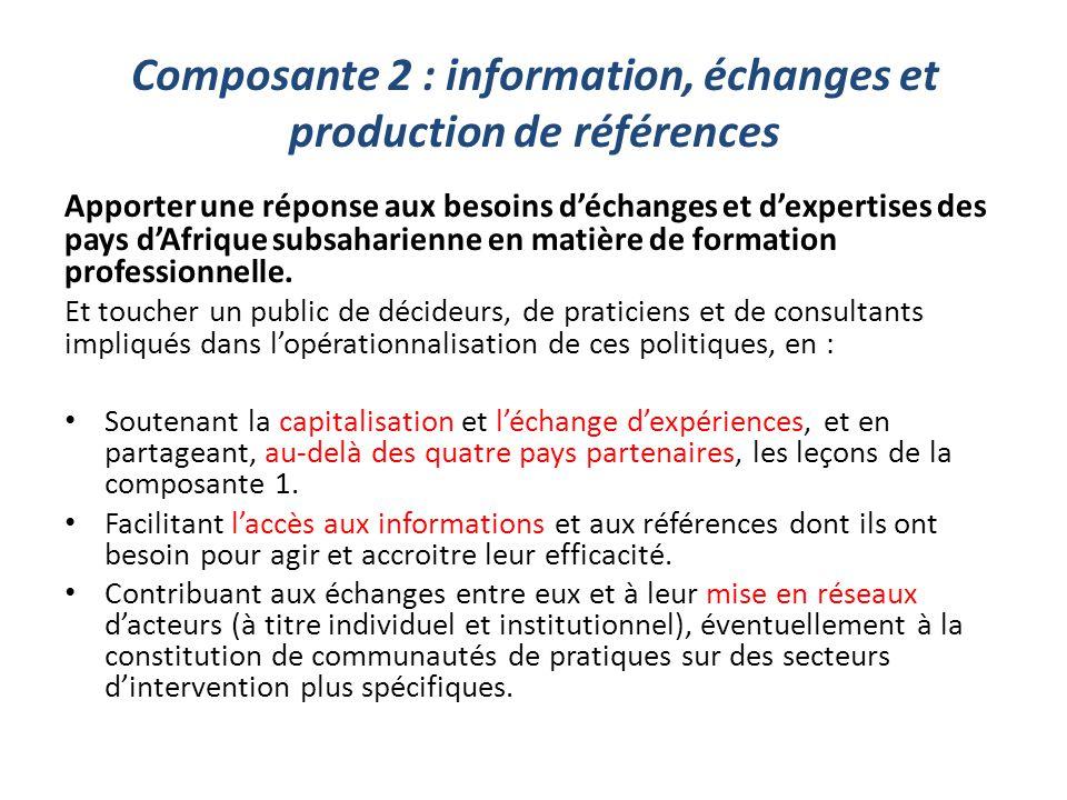 Composante 2 : information, échanges et production de références