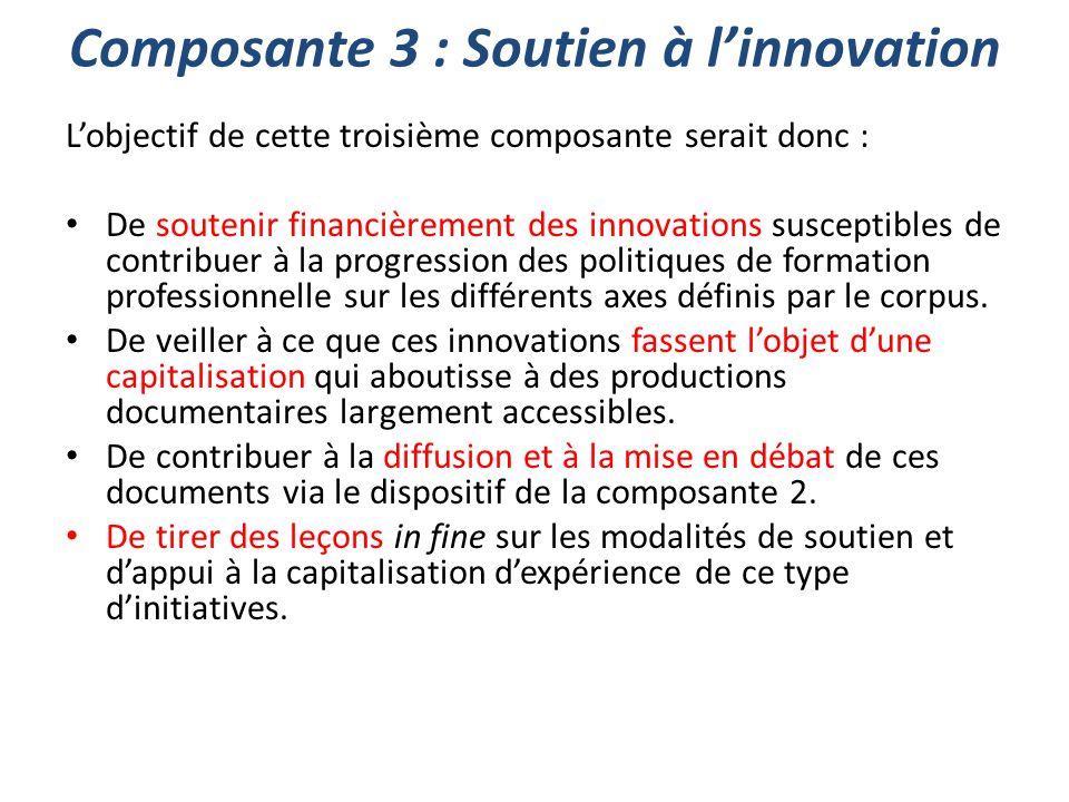 Composante 3 : Soutien à l'innovation