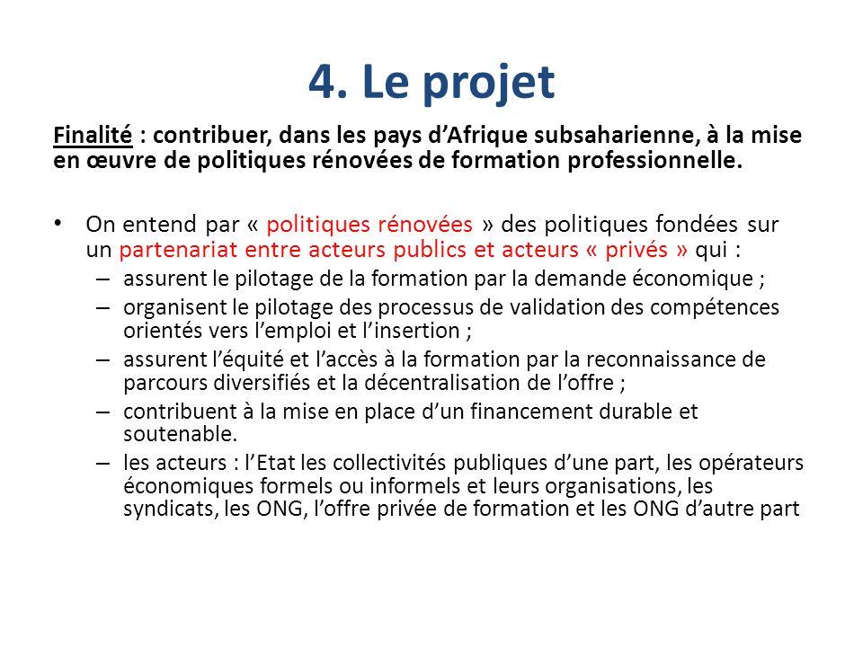 4. Le projet Finalité : contribuer, dans les pays d'Afrique subsaharienne, à la mise en œuvre de politiques rénovées de formation professionnelle.
