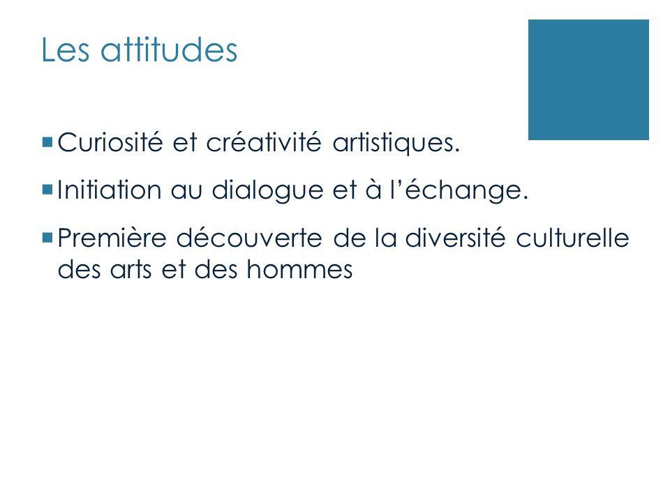 Les attitudes Curiosité et créativité artistiques.