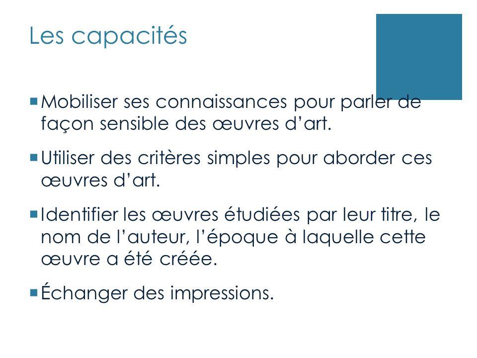 Les capacités Mobiliser ses connaissances pour parler de façon sensible des œuvres d'art.
