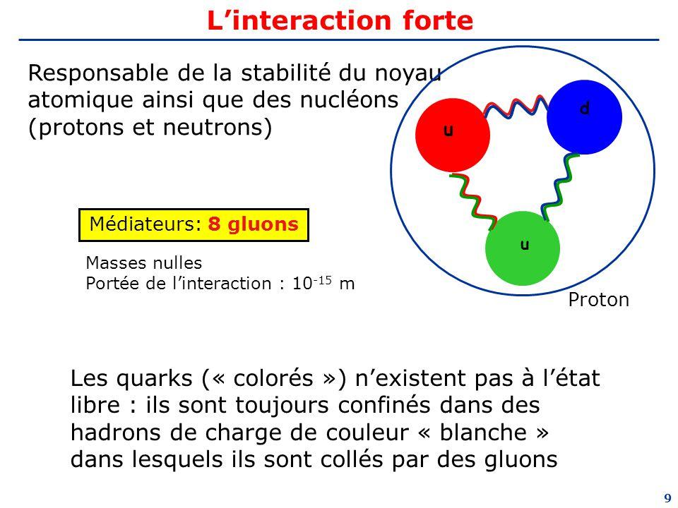 L'interaction forte u. d. Responsable de la stabilité du noyau atomique ainsi que des nucléons (protons et neutrons)