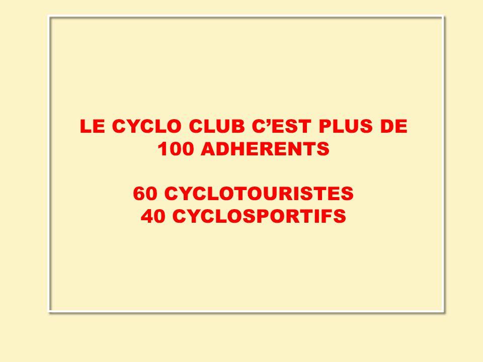 LE CYCLO CLUB C'EST PLUS DE 100 ADHERENTS