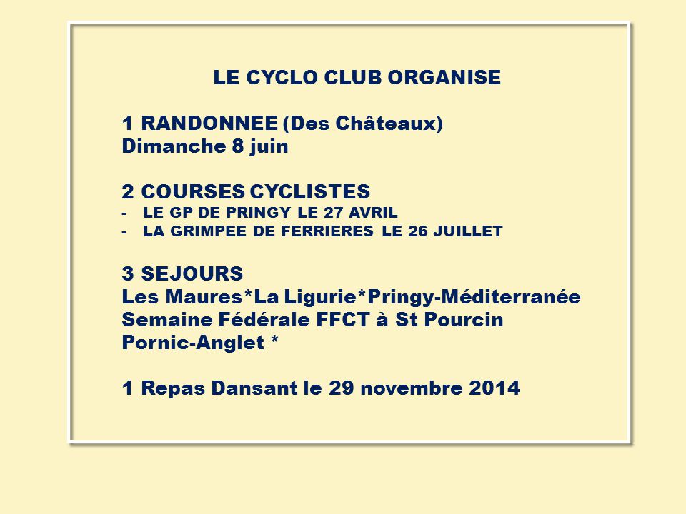 1 RANDONNEE (Des Châteaux) Dimanche 8 juin