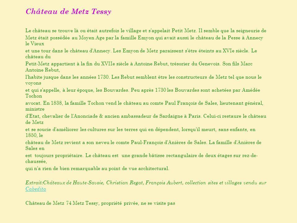Château de Metz Tessy Le château se trouve là ou était autrefois le village et s appelait Petit Metz. Il semble que la seigneurie de.