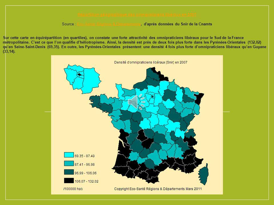 Répartition géographique des omnipraticiens libéraux en 2007