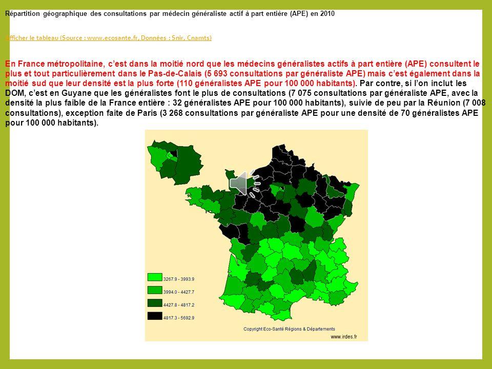 Répartition géographique des consultations par médecin généraliste actif à part entière (APE) en 2010