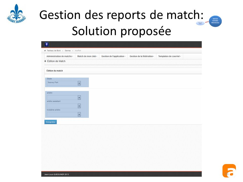 Gestion des reports de match: Solution proposée