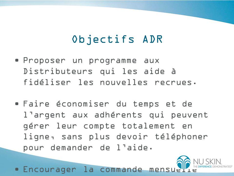 Objectifs ADR Proposer un programme aux Distributeurs qui les aide à fidéliser les nouvelles recrues.