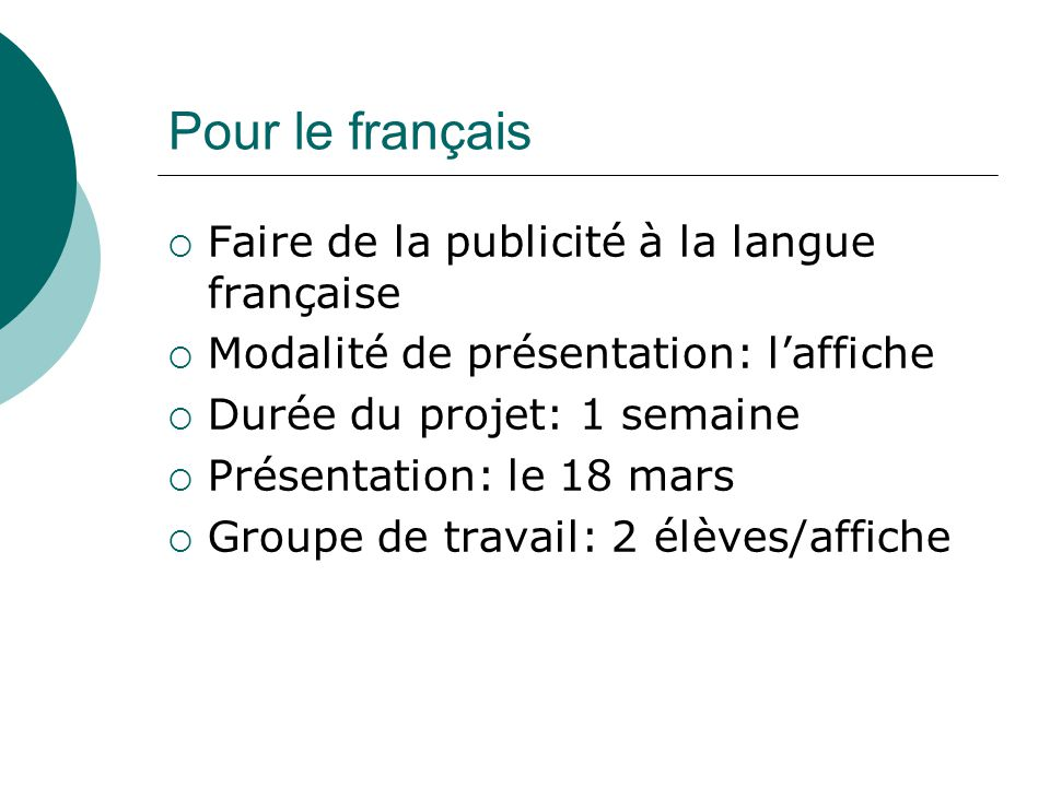 Pour le français Faire de la publicité à la langue française