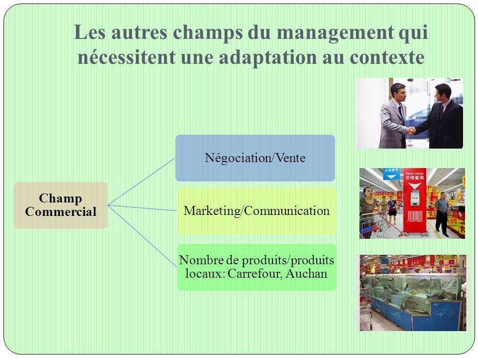 Les autres champs du management qui nécessitent une adaptation au contexte