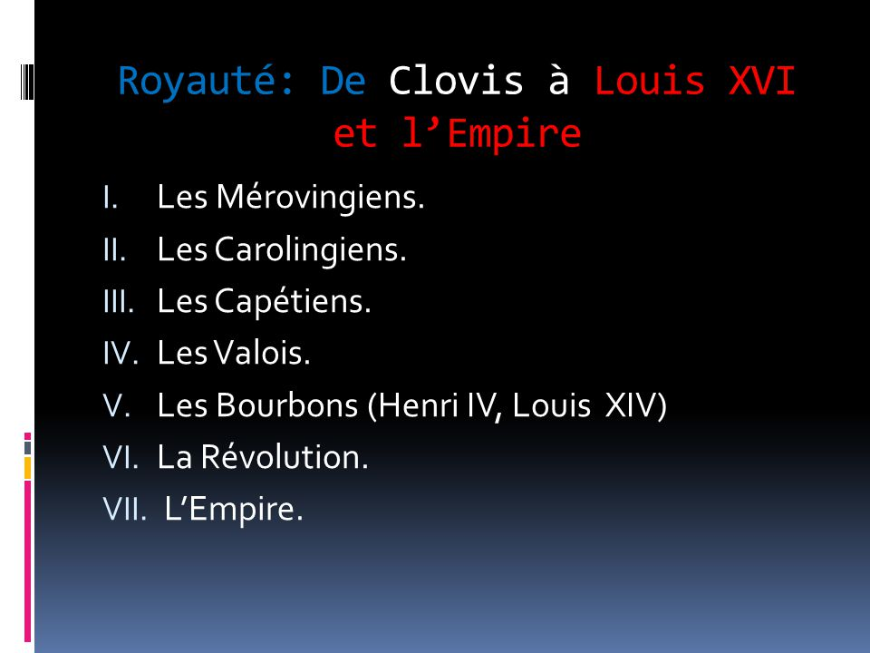 Royauté: De Clovis à Louis XVI et l'Empire