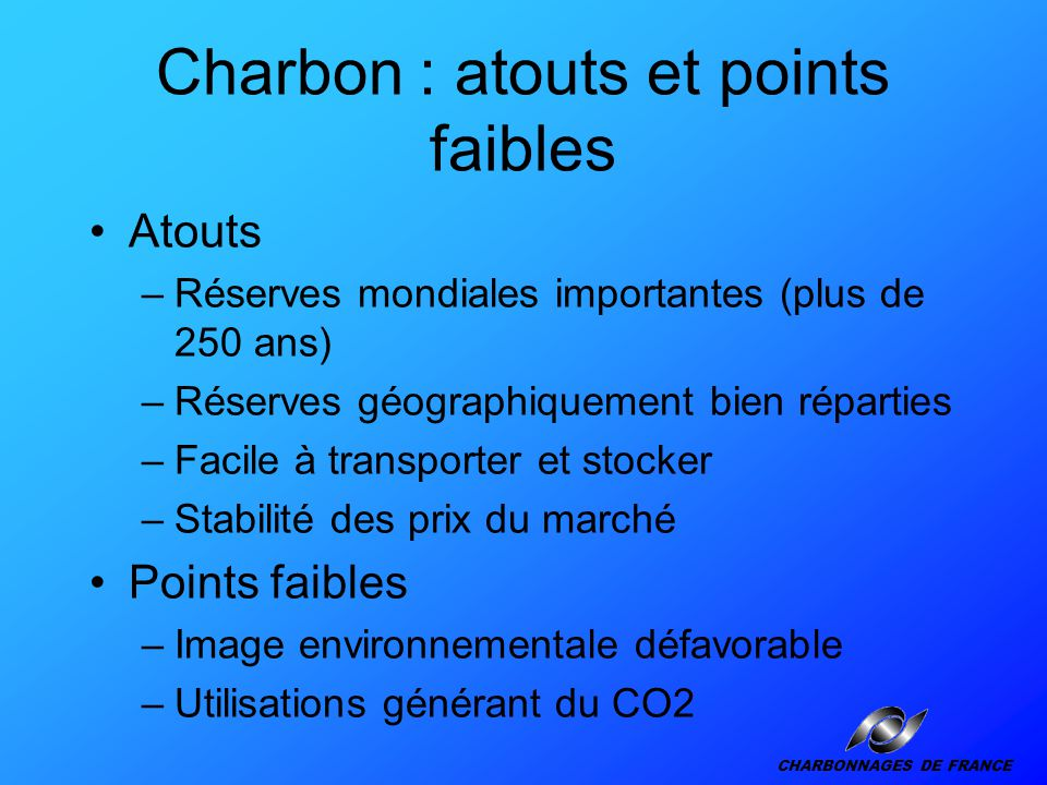 Charbon : atouts et points faibles