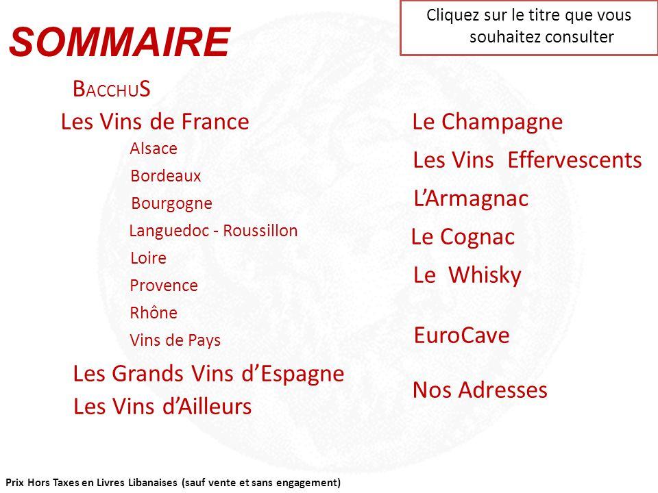 SOMMAIRE BACCHUS Les Vins de France Le Champagne