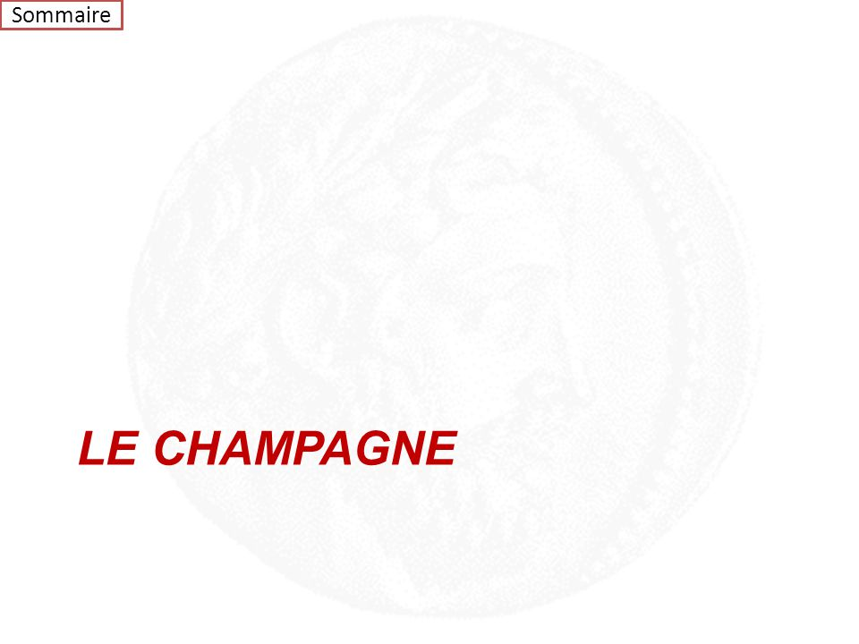 Sommaire LE CHAMPAGNE