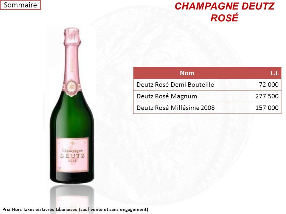 CHAMPAGNE DEUTZ ROSÉ Sommaire Nom L.L Deutz Rosé Demi Bouteille 72 000