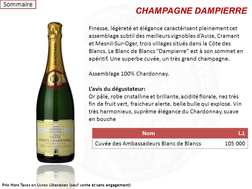 CHAMPAGNE DAMPIERRE Sommaire