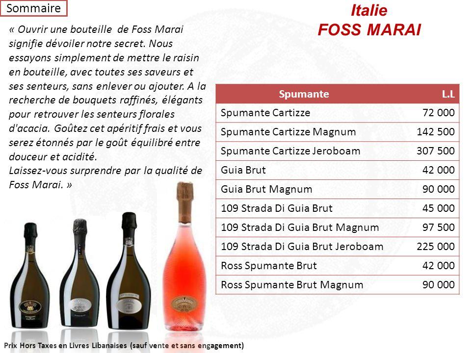 Italie FOSS MARAI Sommaire