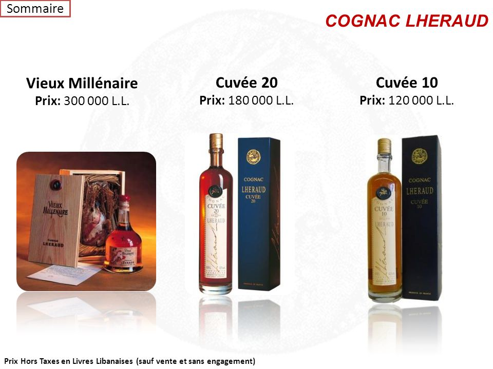 COGNAC LHERAUD Vieux Millénaire Cuvée 20 Cuvée 10 Sommaire