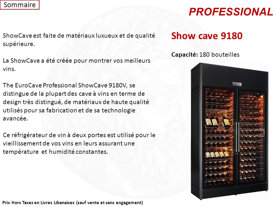PROFESSIONAL Show cave 9180 Sommaire