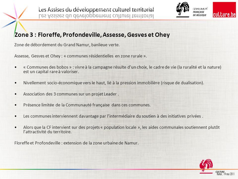 Zone 3 : Floreffe, Profondeville, Assesse, Gesves et Ohey