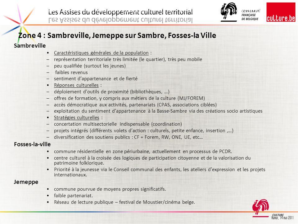 Zone 4 : Sambreville, Jemeppe sur Sambre, Fosses-la Ville