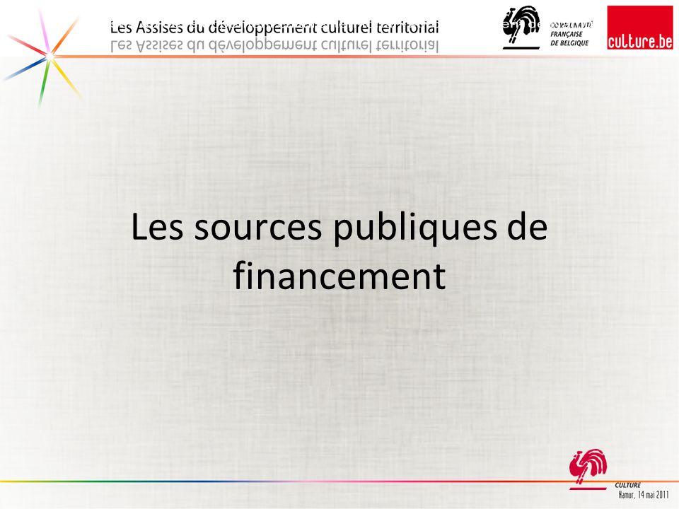Les sources publiques de financement