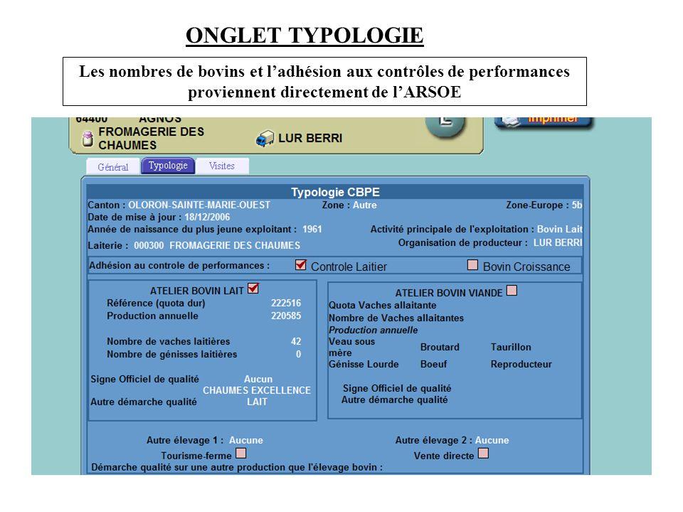 ONGLET TYPOLOGIE Les nombres de bovins et l'adhésion aux contrôles de performances proviennent directement de l'ARSOE.
