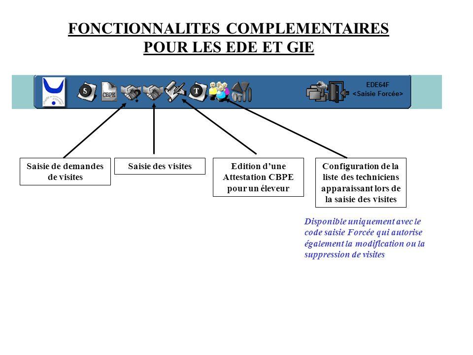 FONCTIONNALITES COMPLEMENTAIRES POUR LES EDE ET GIE